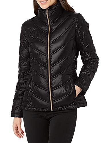 Calvin Klein Women's Lightweight Chevron Quilted Packable Down Jacket, Black, Medium