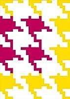 igsticker ポスター ウォールステッカー シール式ステッカー 飾り 1030×1456㎜ B0 写真 フォト 壁 インテリア おしゃれ 剥がせる wall sticker poster 003736 チェック・ボーダー 千鳥柄 ピンク 黄色