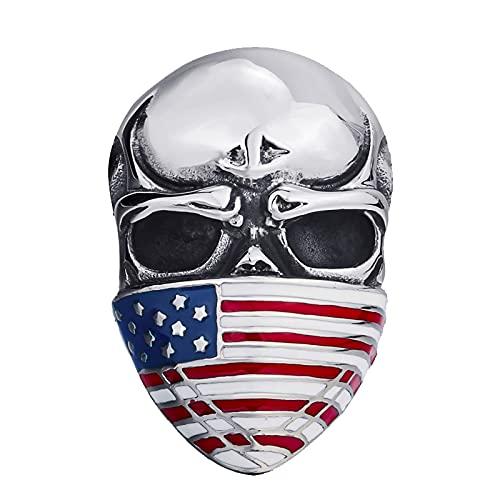 Máscara de bandera americana para hombre Cráneo Anillo de motorista de acero inoxidable Joyería de moda 14 MULTI
