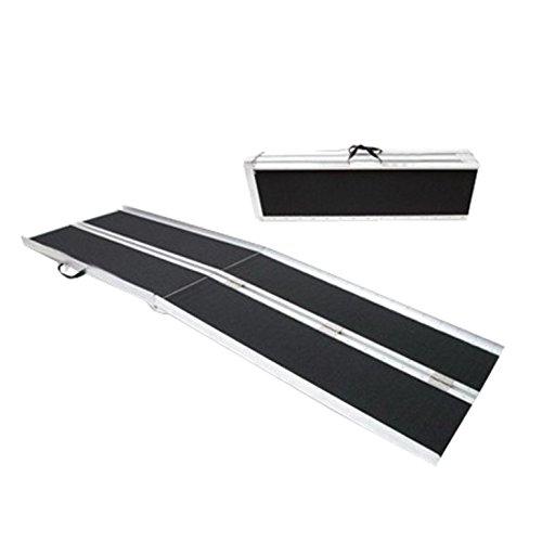 WORHAN® 1.83m Rampe Alu Pliable Valise Fauteuil Roulant Chargement Scooter Plate-Forme Aluminium Anodisé Antidérapante Elevée 183cm R6J