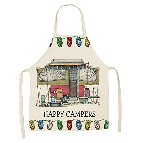 Kitchen Aprons For Women,Cotton And Linen Cartoon Shed Station Wagon Owl Pattern Adjustable Shoulder Strap Waterproof And Oilproof-Unisex Apron Smock For Kitchen Cooking Grill Gardening Baking,47X38C
