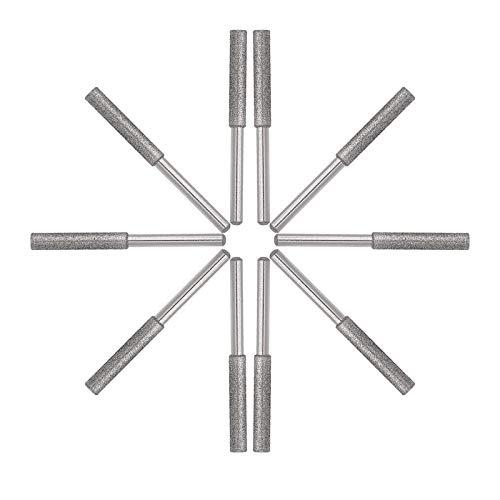 10 Pack Burr Grinding Stone File, Chainsaw Sharpener (3mm Shank Diameter (1/8inch) /4.8mm Diameter,Silver)