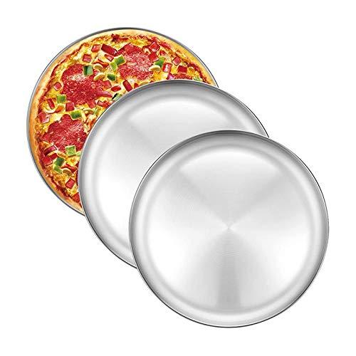 Gfhrisyty Bandeja para Hornear Pizza de 3 Piezas, Bandeja para Pizza de Acero Inoxidable de 12 Pulgadas, Bandeja para Pizza Redonda, Bandeja para Cocinar Pizza para Horno