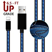 AoLiPlus 6.5 FT LED Charging Cable Visible Flowing Light UP USB Charger Cords Compatible with Phone X/8/8 Plus/7/7 Plus/6/6 Plus/5/5S/5C/SE - Blue