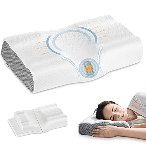 Elviros Cervical Memory Foam Pillow for Sleeping, Adjustable Orthopedic Contour Neck Support Pillows for Pain Relief, Ergonomic Bed Pillow for Back, Side, Stomach Sleepers (White)