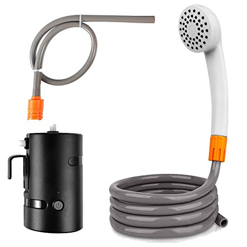 JAYETEC Portable Outdoor Shower Set,Camping Shower USB Rechargeable 4400mAh Battery Powered Shower Pump for Family Camp/Hiking/Backpacking, Travel, Beach, Pet, Flowering, Outdoor Water System IPX7 Wat