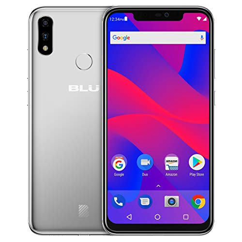 "BLU VIVO XI+ - 6.2"" Full HD+ Smartphone GSM Unlocked and Verizon Compatible, 128GB+6GB RAM, AI Dual Cameras -Silver"