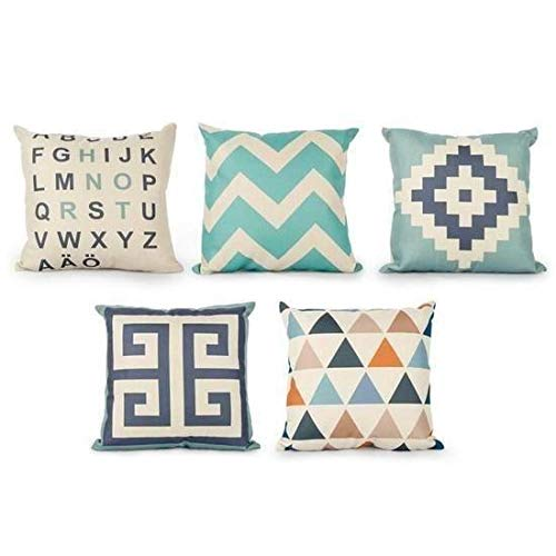 CXLD Pillow Cover Cushion Set of 6 Geometry Pillowcase Square Home Bed Sofa Decor Car Cover 18 x 18Inch