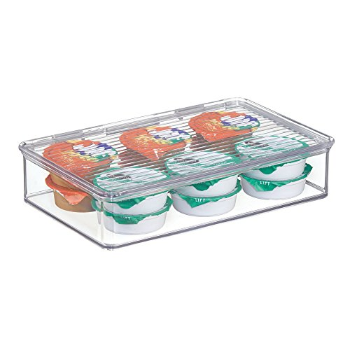 "iDesign Kitchen Binz BPA-Free Plastic Stackable Organizer Box with Lid - 7.26"" x 10.75"" x 2.37"", Clear"