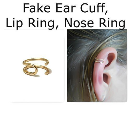 Double Ear Cuff Fake Lip Ring Fake Nose Ring Fake Cartilage