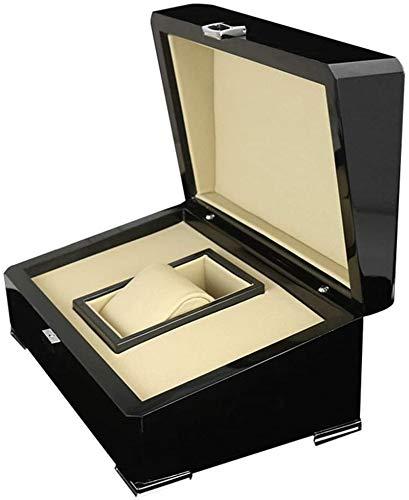 Multifunctional Reloj de almacenamiento Caja de almacenamiento Pintura de madera Caja de reloj de madera PU Cuero cuadrado Joyería Flip Box Caja de visualización (Color: Negro, Tamaño: S)