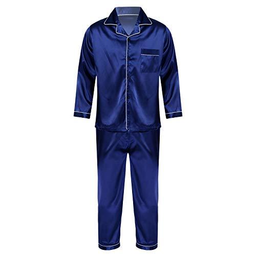 inhzoy Ropa de Dormir de Satén para Hombre Conjunto de 2 Piezas Ropa de Ocio con Cuello con Muesca Bolsillo Manga Larga y Pantalones Azul Marino L