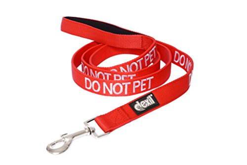 Dexil Limited DO NOT PET Red Color Coded 2 4 6 Foot Padded Dog Leash Prevents Accidents by Warning Others of Your Dog in Advance (6ft)
