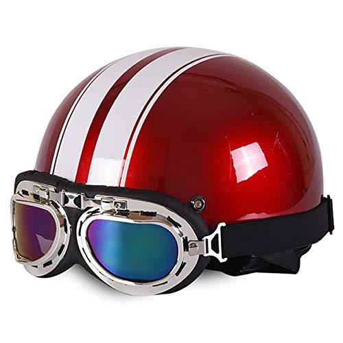 Brain-Cap · Vintage Motorrad Halbhelme Erwachsene Motorrad-Helm Halbschale Jet-Helm Roller-Helm Scooter-Helm Mofa-Helm Retro Motorrad Half Helm mit Brille ECE zertifizierter D,54~59cm