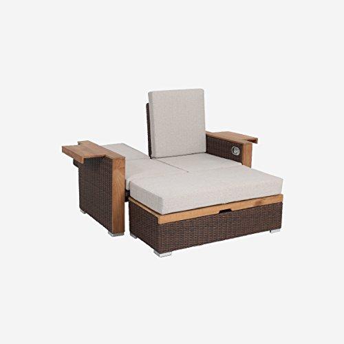 greemotion Rattan-Lounge Bahia Lanzarote, Sofa & Bett aus Polyrattan & Akazienholz, 2er Garten-Sofa mit Stahl-Gestell, Daybed zweigeteilt, braun - 2