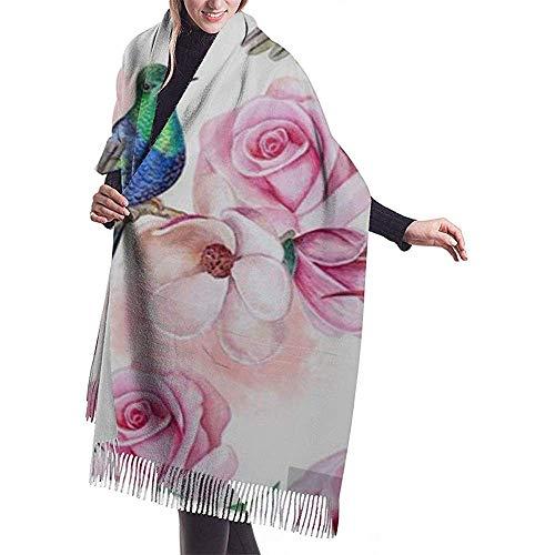Cathycathy rozenmagnolia-vogels van het Colibris-behang met groeven en bloemen-sjaal-verpakking-winter-warme sjaal-pet
