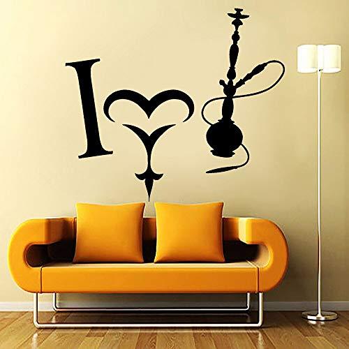 AiEnmaw Adhesivo de pared con frase en cachimba I Love Smoke Smoking Weed Wall Calcomanías para sala de estar con cachimba y salón, 48 x 42 cm