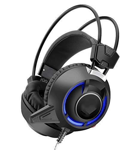 Auriculares de Juego Luminoso, reducción de Ruido, Sonido crujiente, cómodo y Transpirable, Adecuado para Vibraciones Luminosas Auriculares de Juego de computadora Blanco (Color: Negro) YXF99