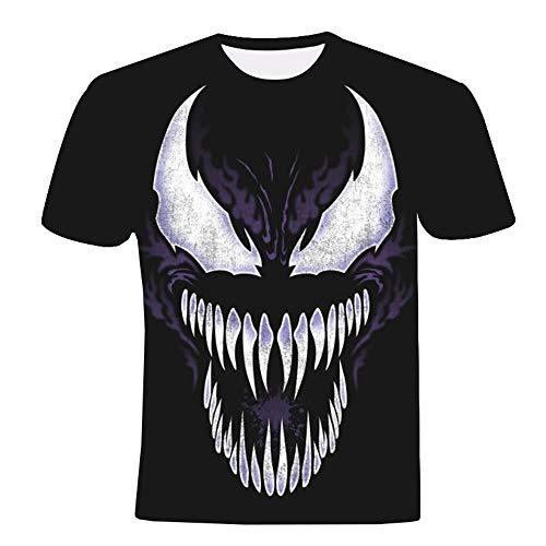 Venom Camiseta Camiseta 3D Estampado Deportivo Gimnasio Manga Corta Cuello Redondo Diluyente Blusas Hombres (Color : A01, Size : S)