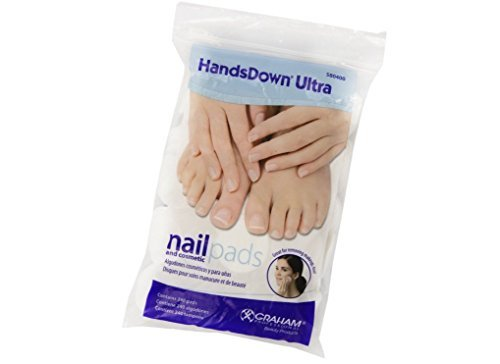 Graham HandsDown Ultra Nail Pad and Cosmatic Lint Free Nail Wipes for Gel Nails & Nail Art - Contains 240 pads by Hands Down