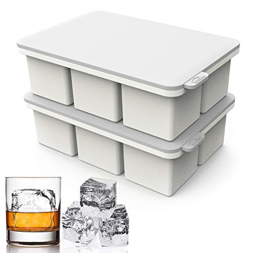 大型角型アイスキューブトレイ 蓋付き 大きなブロックアイスキューブ 2インチ ジャイアントカクテルシリコン製アイスメーカー スコッチウイスキーアイスキューブ 簡単リリース 再利用可能なアイスキューブ スープ 冷凍庫 ワインジュース用
