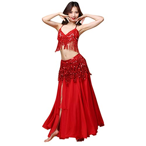 GDJGTA Women Belly Dance Hip Scarf with Coins Velvet Belt Costume Skirt Wrap Outfit Sequins Tassels Bead