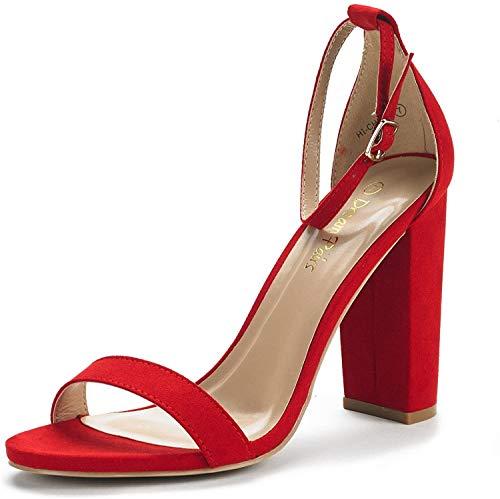 DREAM PAIRS Women's Hi-Chunk Red Suede High Heel Pump Sandals - 5 M US