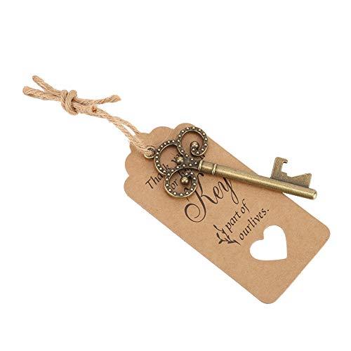 Abrebotellas, abridor de botellas en forma de llave, no tóxico, seguro y ecológico, utilizado como grandes decoraciones vintage(50pcs+wave bead chain+card)