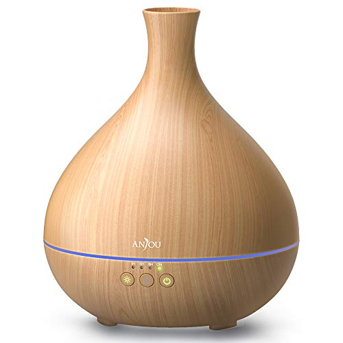 Essential Oil Diffuser, Anjou 500ml Cool Mist Humidifier Wood Grain Aromatherapy Diffuser with 7 Color Changing Night for 12hrs of Continuous Quiet Diffuse Aroma(Light Brown)