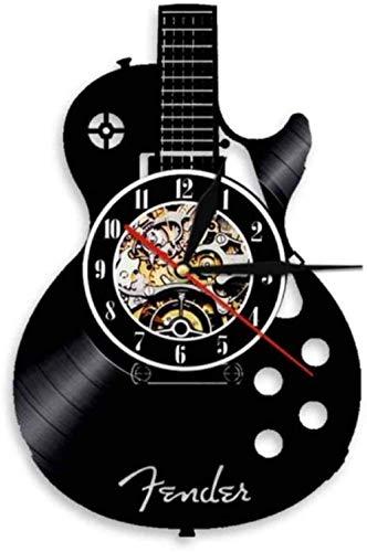 Akustikgitarre Wandkunst Wanduhr Musikinstrument Home Interior Wanddekoration Schallplatte Wanduhr Rock n Roll Musikalisches Geschenk