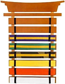 KidKraft Martial Arts Wooden Belt Holder Hanging Display for 8 Belts (Unpersonalized),Honey,18.5 x 0.8 x 24.5