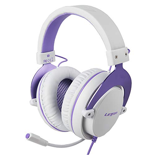 SUPSOO Stereo Gaming Headphones for PS4, PC, Xbox One Controller, Noise Cancelling Over Ear Headphones with Mic, Bass Surround, Soft Memory Earmuffs for Laptop Mac Nintendo Switch Games (L19-purple)