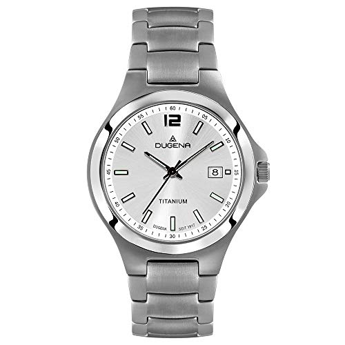 DUGENA Herren-Armbanduhr 4460661 Titan, Quarz, silbernes Zifferblatt, Titangehäuse, Saphirglas, Titanarmband, Drückerfaltschließe, 5 bar