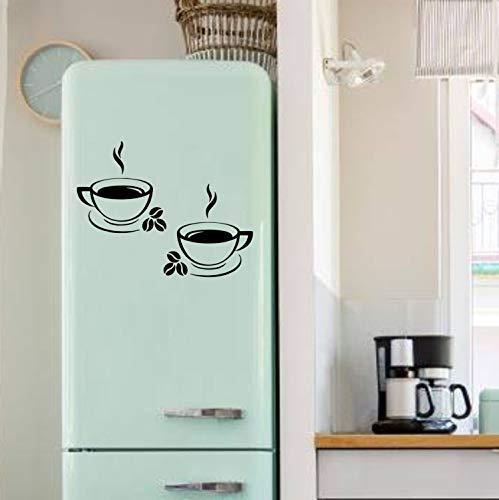 myrockshirt Zwei dampfende Kaffeetassen mit Kaffeebohnen gesamt ca 45cm breit Aufkleber Kühlschrank Sticker Lustig Profi-Qualität ohne Hintergrund Deko