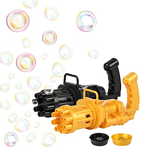 XJSGS Gatling Bubble Machine , 2021 Cool Toys Geschenk Bubble Machine , 8-Loch automatischer Bubble Maker Kinder im Freien Aktivitätsspielzeug (schwarz+Golden)