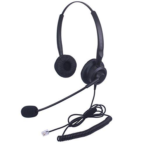 Xintronics Auriculares Teléfono Fijo Binaural RJ9, Cascos con Cancelación de Ruido Micrófono para Plantronics M10 M12 M22 MX10 Amplificadores y Cisco 7941 7945 7975 (X20C1)