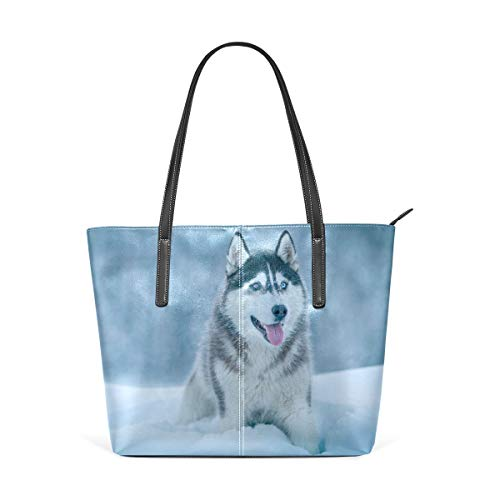 jhin Husky Canine Winter Womens Purse PU Leather Shoulder Tote Bag Bolso de hombro Backpack Ladies Travel Shopping Bags