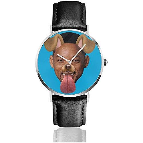 Smith Dog Snapchat Filter Uhren Quarz Lederuhr mit schwarzem Lederband für Sammlung Geschenk