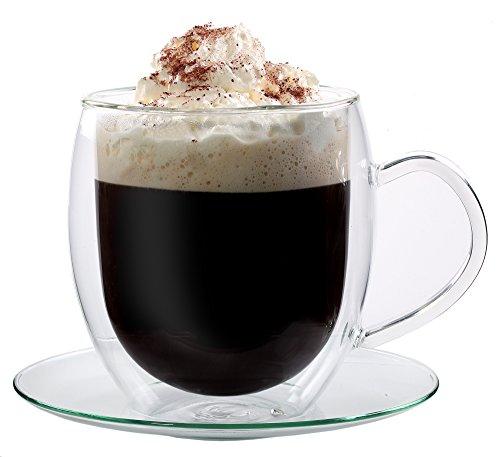 Feelino Bullino große doppelwandige 400 ml Glas-Thermotasse mit Untersetzer edle und extra große Glas-Teetasse/Kaffeetasse mit Schwebeeffekt, Glastasse mit Henkel und Untersetzer im Geschenkkarton