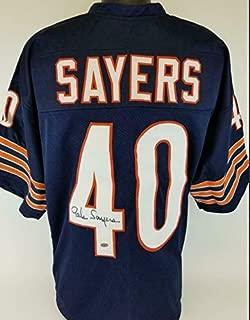 Autographed Gale Sayers Jersey - Custom Leaf COA - Autographed NFL Jerseys
