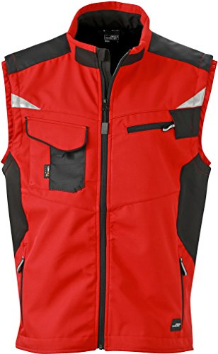 James & Nicholson FaS50845 Workwear Softshell Weste atmungsaktiv Herren, Größe:XL, Farbe:RED/Black