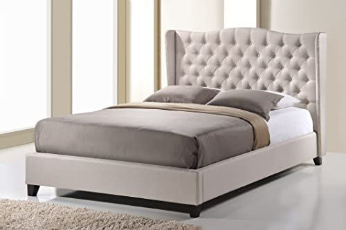 Baxton Studio Norwich Linen Modern Platform Bed King Light Beige product image