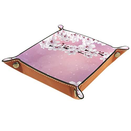 Bandeja de Valet Cuero para Hombres - Hermoso patrón de Flor de cerezo-01 - Caja de Almacenamiento Escritorio o Aparador Organizador,Captura para Llaves,Teléfono,Billetera,Moneda