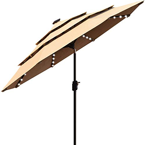 EliteShade Sunbrella Solar 9ft 3 Tiers Market Umbrella with 80 LED Lights Patio Umbrellas Outdoor Table with Ventilation and 5 Years Non-Fading Top,Heather Beige