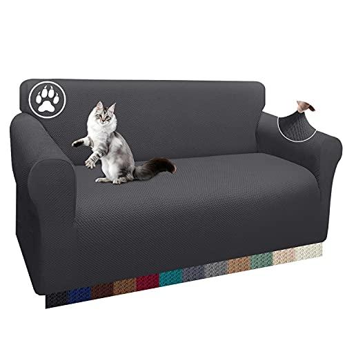 Luxurlife 1 funda gruesa para sofá de 2 plazas, elástica, antideslizante, para salón (2 plazas, gris)