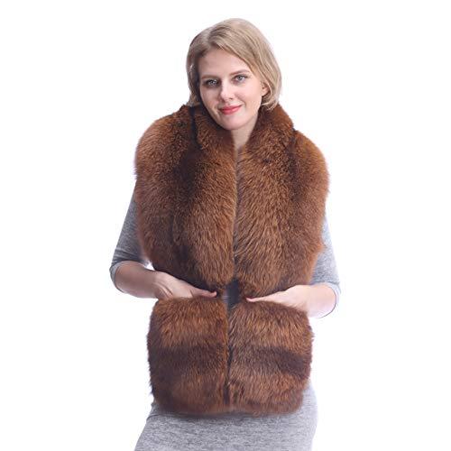 URSFUR Frauen Fuchspelz Schal mit Handschuhen,Ponchos Hals Warm zu Halten-Braun 160 * 28cm
