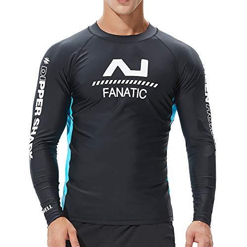 Plot Herren Langarm Bademode, UV-Schutz UPF 50+ Basic Surfen Tauchen Shirt Rash Guard Tops (Schwarz 1, L)