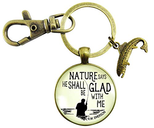 Gutsy Goodness Fishing Keychain Dad Nature Says Outdoorsman Rustic Key Ring Gift For Father Sportsman