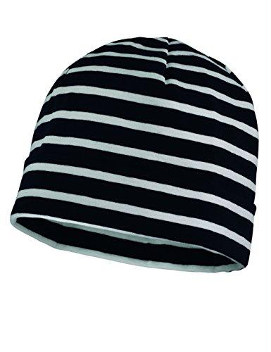 maximo Jungen Mütze mit Umschlag, Einfarbig, Gr. 55 (Large), Mehrfarbig (dunkelmarine-weiß)