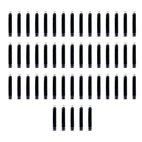 aibesy Cartuchos de tinta de pluma estilográfica de 50 piezas Cartucho de recarga de tinta de color negro con diámetro de agujero de 3,4 mm